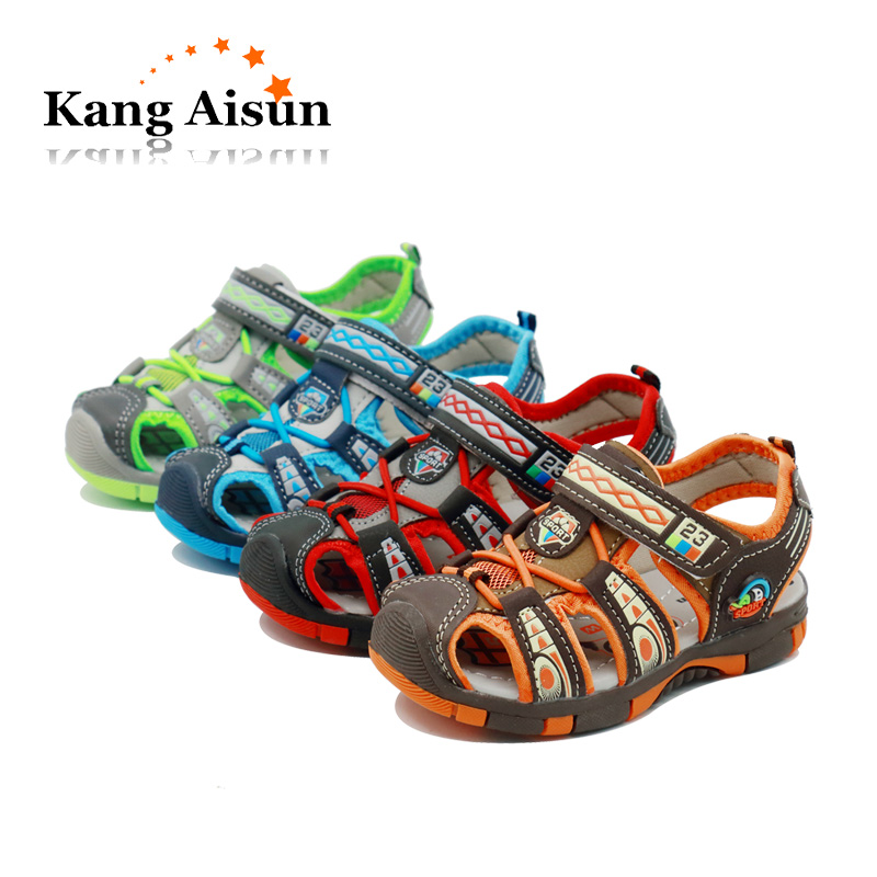 Kangaisun 2018 New Kids Summer Beach Sandals Non-slip Fashion Children Shoes For Toddler Boys Girls Pu Leather Flat Sandals Children's Shoes