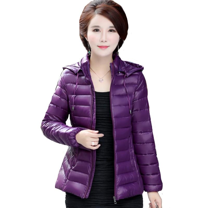 2019 Winter   Parkas   Ultra Light Jacket Women Hooded Coat Plus Size 4XL Solid Color Thin Jackets   parka   female Coats manteau femme