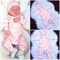 2 Pcs Macacão de Recém-nascidos Meninas Nuvens + Conjuntos de Chapéu Infantil Do Bebê Menina Rosa de Manga Longa Onda Chapéu Romper Macacão roupas Roupas