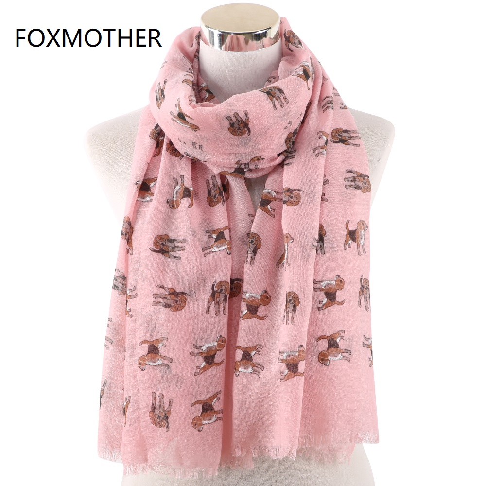 FOXMOTHER New Fashion Lovely White Pink Color Pet Dog Print Scarf Shawl Wrap Scarves Dog Foulard Femme Gifts Dropshipping
