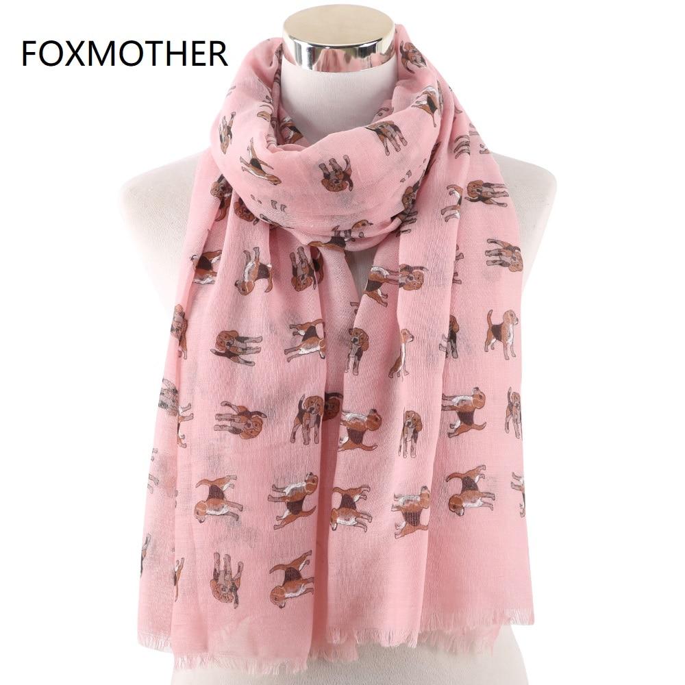 FOXMOTHER-bufanda estampado perro para mujer, chal, bufandas para perro, Color blanco y rosa