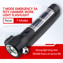 4 Mode Magnet Multi-function Solar Escape Rescue COB Flashlight With Safety Hammer 4 in 1 multifunction car auto safety hammer with led flashlight