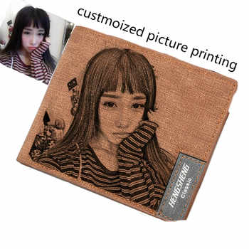 Wallet men\'s short ultra-thin young students simple fashion diy customized photo lettering printing picture wallet gift wallet - DISCOUNT ITEM  25 OFF Luggage & Bags