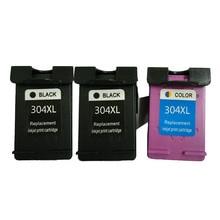3pcs Vilaxh compatible 304XL Ink Cartridge 304 xl replacement for HP 304xl Deskjet 3700 3720 3730 3732 Printer ink