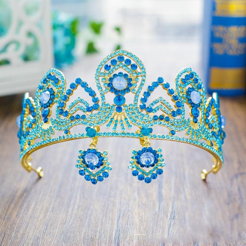 HIMSTORY  Crystal Princess Tiara Earrings Bride QUEEN CROWN Luxury European Blue Crown Wedding Headdress Hair Jewelry