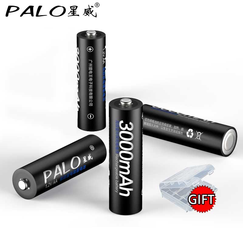 PALO 8Pcs 100 Original 1 2V AA batteries 3000mAh Ni MH 2a 2A AA Rechargeble Battery For camera toy Flashlight in Rechargeable Batteries from Consumer Electronics