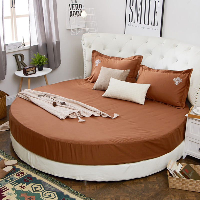 Beautiful Aliexpress.com : Buy 100% Cotton Round Fitted Sheet Queen King Size Bed  Sheet Elastic Round Mattress Cover Solid Color Soft Bed Cover From Reliable  Round ...
