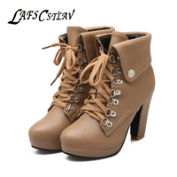 LAFS CSTLAV Lace Up Platform Ankle Boots For Women Comfortable Thin High Heel Warm Winter Short