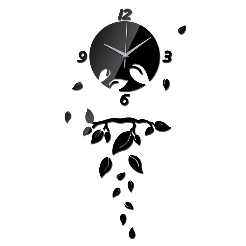 2014 Hot frete grátis DIY 40 * 80 cm ( 15.7 * 31.5in ) criativo Quartz moderno artístico Sun folha decorativa do espelho relógio de parede