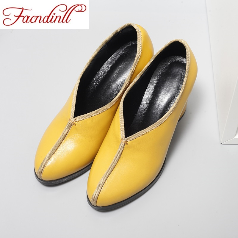 ФОТО brand design retro style handmade shoes women chunky heels pumps round toe high heels genuine leather shoes office lady pumps