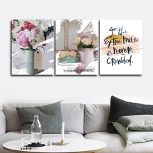 Romantic Roses Nordic Wall Pictures Poster Print Canvas Painting Calligraphy Decor for Living Room Bedroom Home Frameless