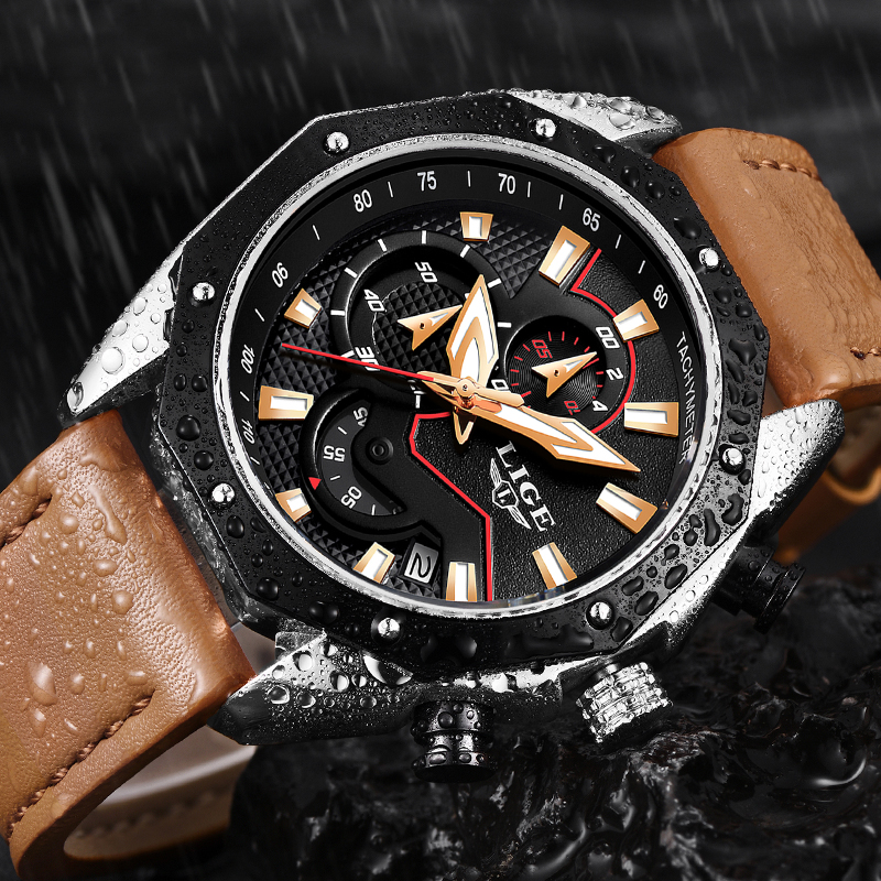 2018 LIGE Men Watches Fashion Business Leather Quartz Watch Men Military Waterproof Sport Watch Male Wristwatch longbo men military watches complex big dial leather strap wristwatch male outdoor sports quartz watch life waterproof uhren men