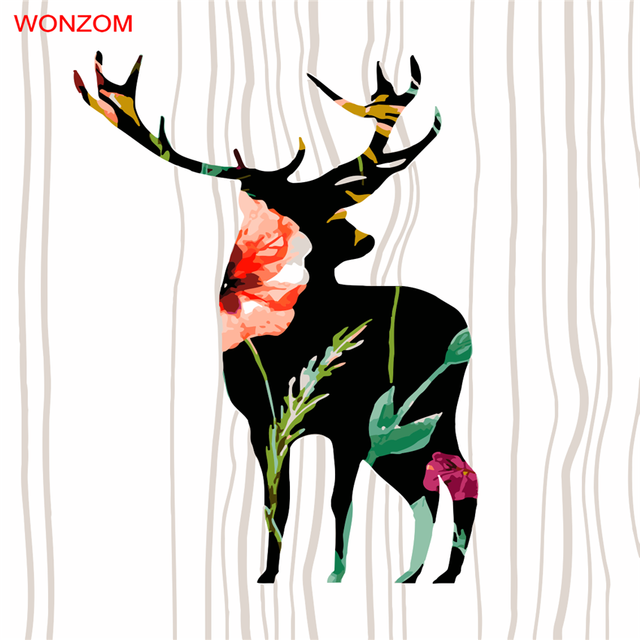 Pintura abstracta por números en la lona colorear flores Deer ...