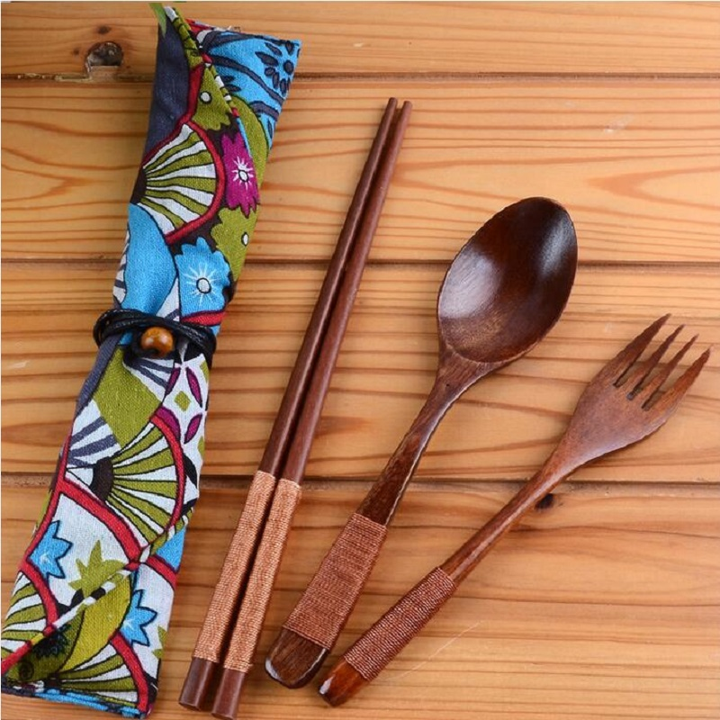 Free Shipping 100set 3pcsset Japanese Style Wood Chopsticks Fork