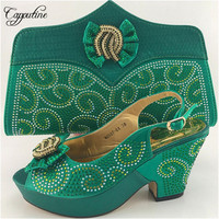 2017 African Style Rhinestone Shoes And Bag Set Hot Sale Woman High Heels Shoes And Bag