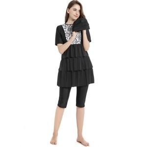 Image 1 - Nova Swimwear Islâmico Para As Mulheres Plus Size Modest Burkinis Musulman Maiô Empurrar Para Cima de Manga Curta Swimwear Muçulmano Hijab