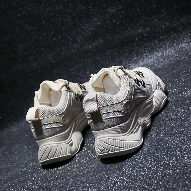 Sport Et Épais Mode Lumineux Super Sneakers Sauvage Femmes Beige Net black Chaussures Casual Je grey Rouge De Respirant Brillant Feu xSPzPBp