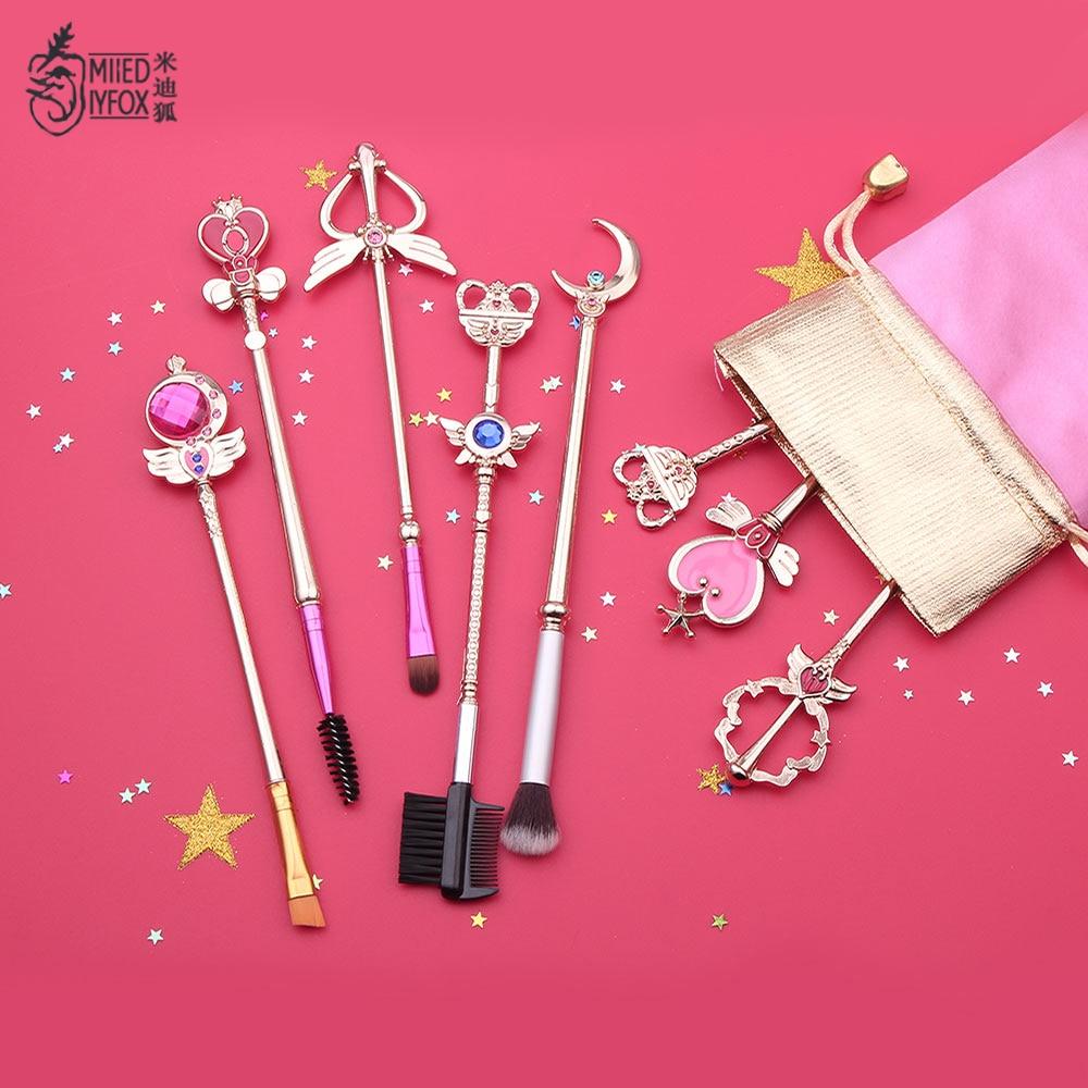 Freies Verschiffen Anime Schmuck Sailor Mond Make-Up Kosmetik Pinsel Set Pincel Maquiagem Goldene Metall Mond Mit Kristall Frauen Geschenke