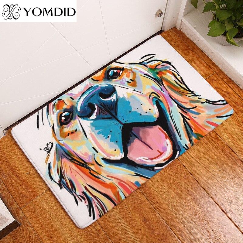 2017 Modern Style mats Lovely Dog Printing Carpets Anti-slip Floor Mat kitchen Living room Outdoor Rugs Animal Front DoorMat