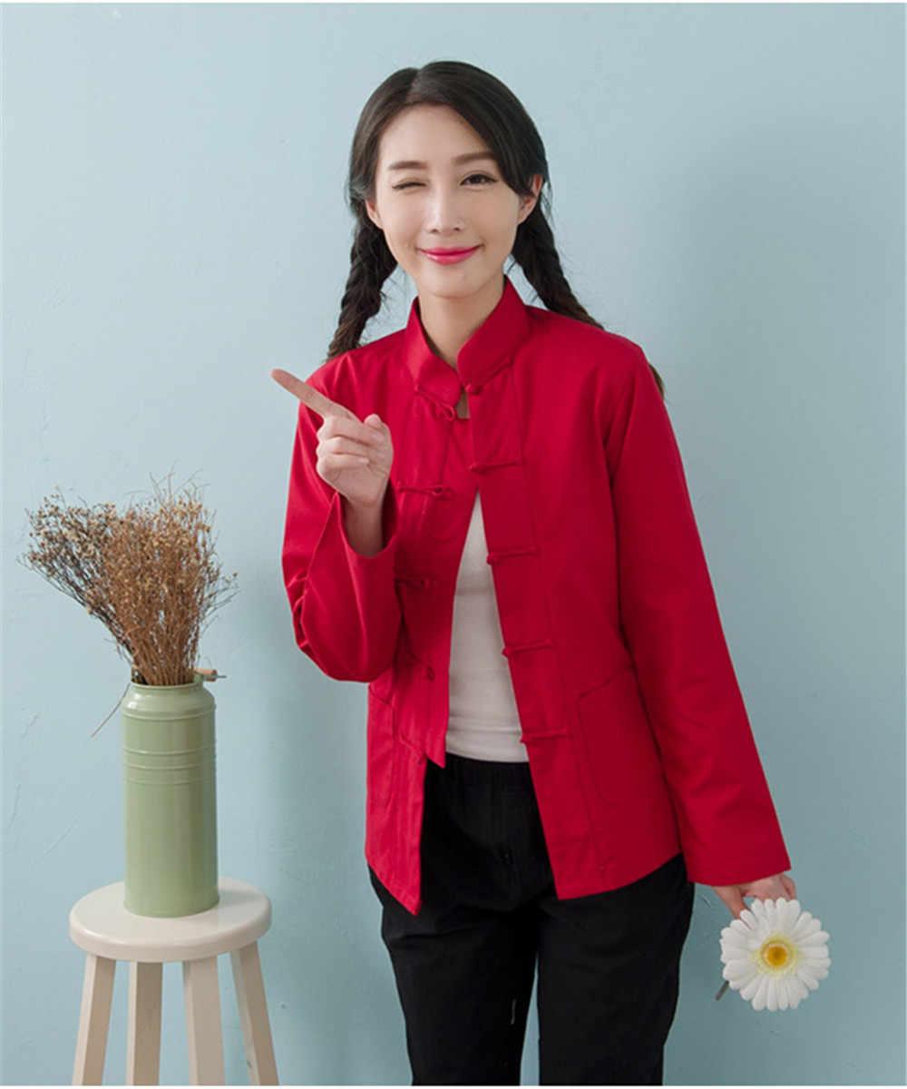 女性春中国長袖唐スーツジャケットコットンリネン服伝統カンフーシャツ
