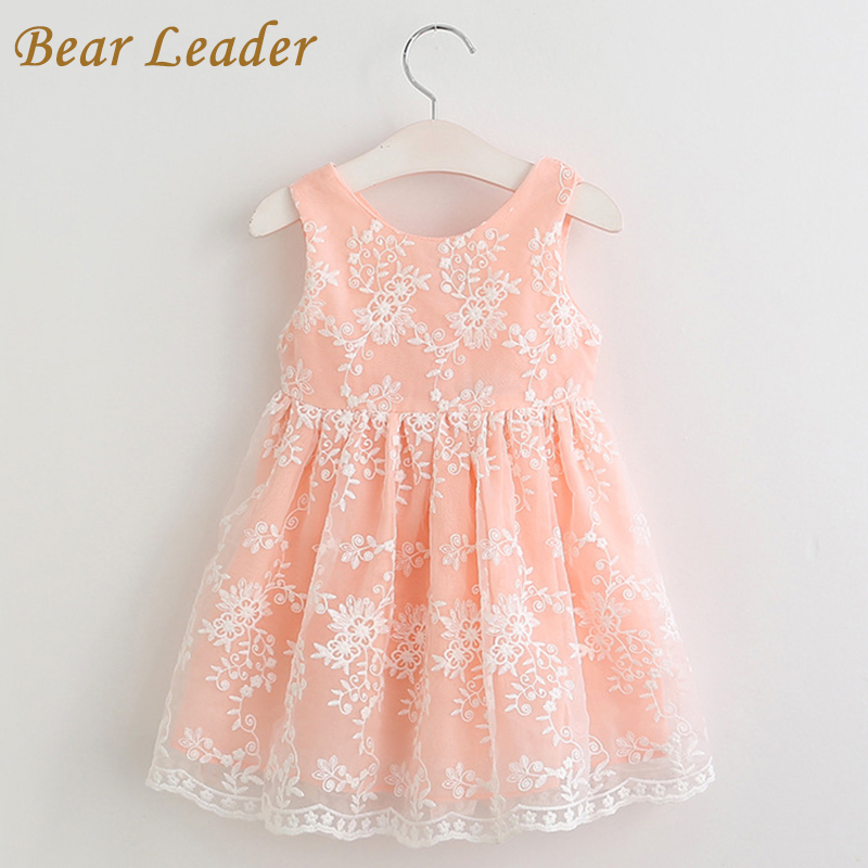 Bear Leader Girls Dress 2017 New Summer Cute Dresses Lace Ball Grown Dress Fashion Print Children Clothing Kids Clothes 3-7Y