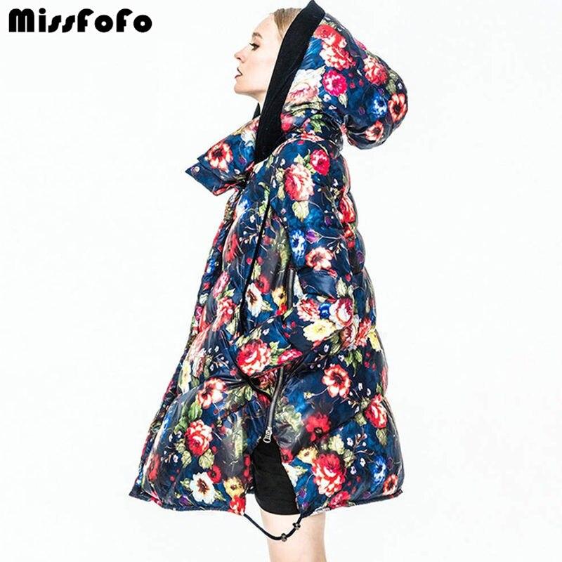 MissFoFo Women Down Coats CLJ Jackets Fashion Female Parka Secret Garden Oil Painting Flower Long Outwear