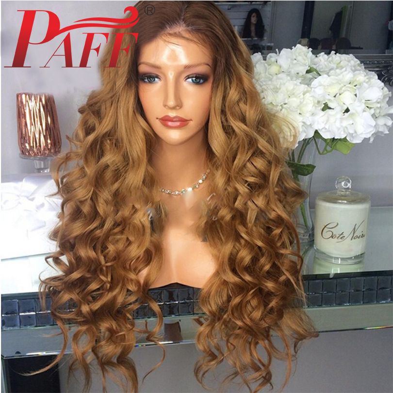PAFF Ombre Full Lace Human Hair Wigs Pre Plucked Curly Peruvian Remy Hair Wig 180 Density