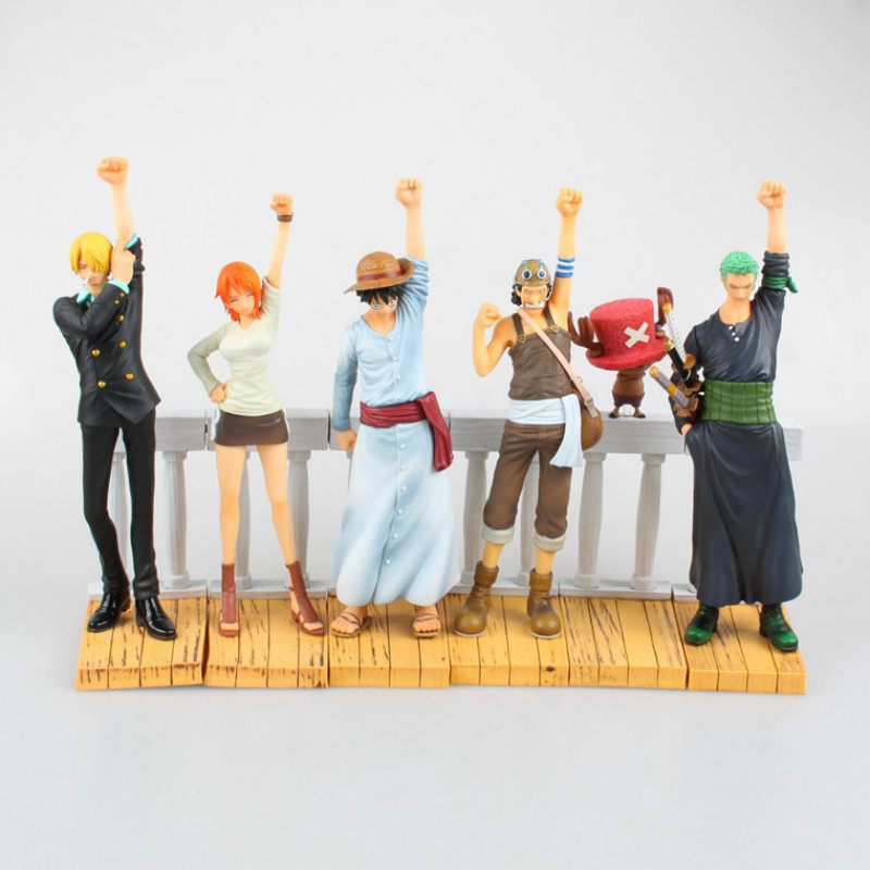 6pcs/set <font><b>One</b></font> <font><b>Piece</b></font> 6-20CM <font><b>Luffy</b></font> Nami Roronoa Zoro Desert Memories Hobbies Anime PVC Action Figures Toys For Children Christmas image