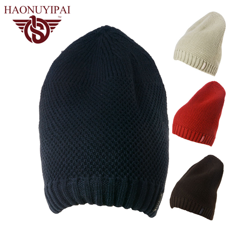 Fashion Autumn Winter Men's Skullies Black Beige Coffee Color Knitted Elastic Beanies Women Warm Hats Adult  Ski Snowboard Gorro skullies