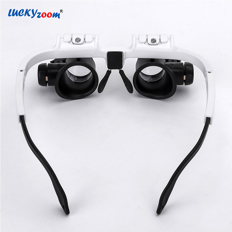 4a923c86ec082 Luckyzoom Headband Óculos Lupa Lupa Com Luzes LED 8X 15X 23X ...