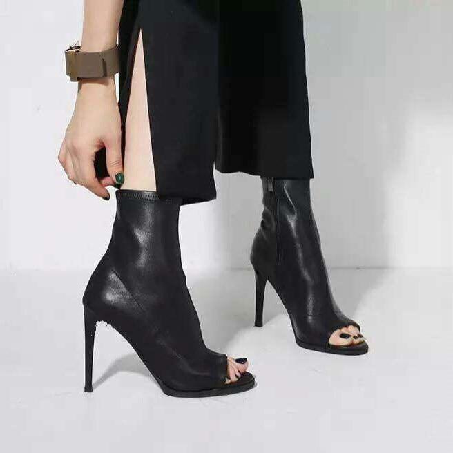EOEODOIT Women High Stiletto Heels Boots Spring Autumn Peep Toe Mid Calf Leather Pumps Super High Heel Black All Match Booties