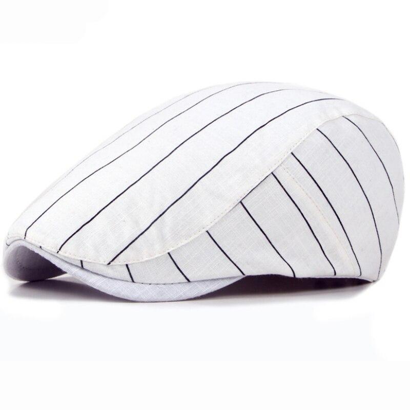 HT1709 Spring Summer Sun Cap Hats for Men Women Striped Cotton Berets Male Ivy Flat Beret Hat Fashion Female