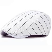 HT1709 Spring Summer Sun Cap Hats for Men Women Striped Cotton Berets Male Ivy Flat Beret Hat Fashion Female