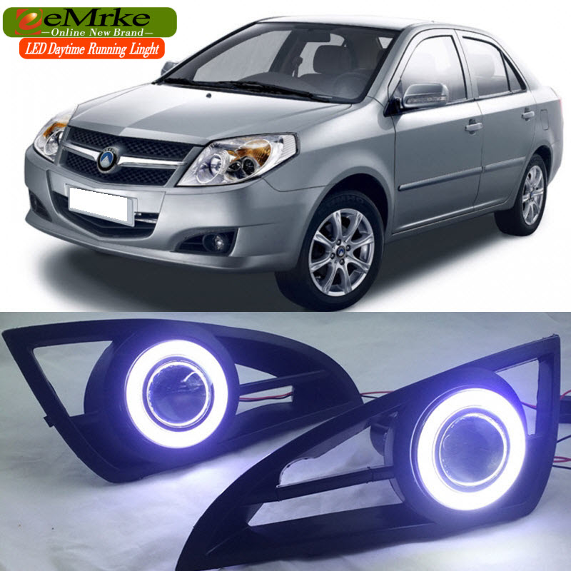 EEMRKE For Geely MK 2in1 COB LED Angel Eye DRL H11 55W Halogen Fog Lights Lamp Daytime Running Light eemrke for fiat freemont led angel eye drl daytime running lights halogen h11 55w fog lamp light