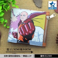 Japanese Anime One Punch Man Horizontal Zipper Wallet/Saitama Sensei Short Frosted Purse