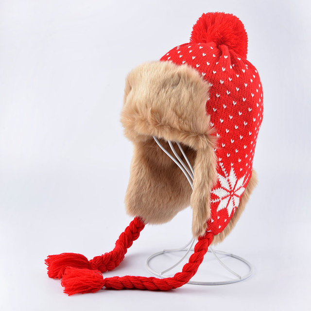Fashion Winter Hat Women Fur Cap Warm Plus Velvet Dual Use Hats For Women Thicken Knitting Caps Ladies Winter Beanie Wool Hat