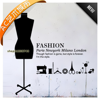 Tailors shop vinyl sticker clothing store mural wall decal dummy letter wall picture home decoration wall sticker for bedroom in wall stickers from home