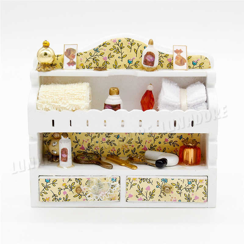 Odoria 1:12 Miniature Bathroom Cabinet For Cosmetics Makeup Perfume Shelf Dollhouse Furniture Accessories