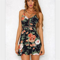 Europe And America Style Vestidos 2017 Summer New Women Fashion Hollow Backless Dress Female Sexy Print