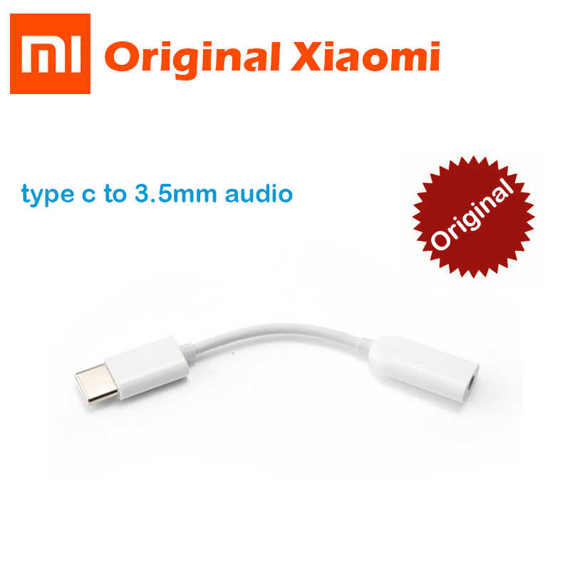 Original Xiaomi Type-C to 3.5mm Earphone cable Adapter Black shark MI 8 6 SE A2 MIX 2S USB-C male to 3.5 AUX audio female Jack