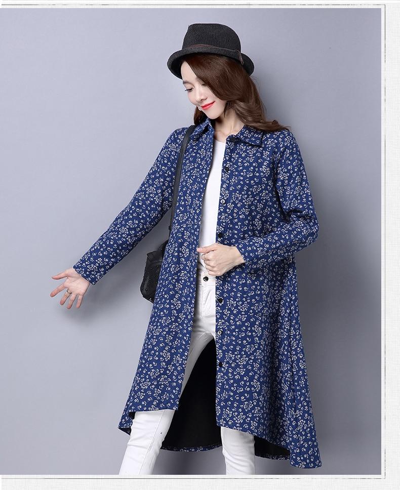 BUYKUD Vintage Shirt-Coats 2018 Autumn Winter New Long Sleeve Printed Coat Office Lady Irregular hem Women Button Linen Coats 18