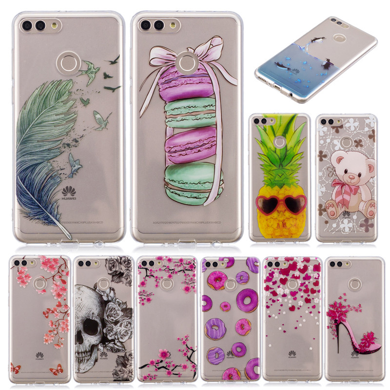Phone <font><b>Case</b></font> Fundas <font><b>Huawei</b></font> Y9 <font><b>2018</b></font> FLA LX1 LX2 <font><b>case</b></font> For Coque <font><b>Huawei</b></font> <font><b>Y</b></font> <font><b>9</b></font> <font><b>2018</b></font> Colored Cartoon Soft Silicone TPU cover phone <font><b>cases</b></font> image