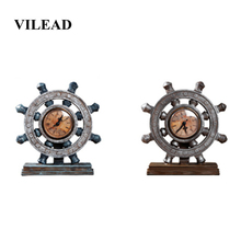 VILEAD 23cm Resin Industrial Rudder Clock Figurines European Retro Nostalgic Office Creative Decor Ornaments New Year Decoration