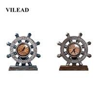 VILEAD 23cm Resin Industrial Rudder Clock Figurines European Retro Nostalgic Office Creative Decor Ornaments New Year Decoration