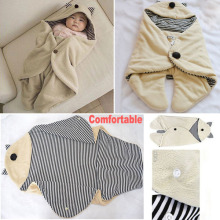 2014 Winter  Baby  Parisarc Wrap  Newborn Infant Coral Fleece  Blanket Cute and Comfortable Blanket
