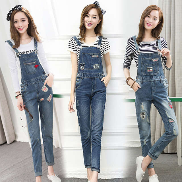 2016 New Free shipping Plus size Korean New Womens Jumpsuit Denim Overalls Casual Skinny Girls overalls Pants Jeans Holes