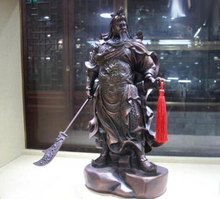 18 China Bronze copper Famous Dragon Guan Gong Guan Yu Hold Sword Knight Statue
