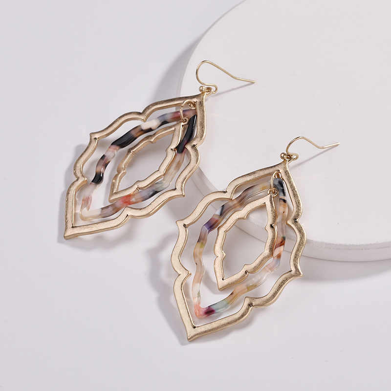 Bohemian Triple Layer Geometric Frame Resin Acrylic Earrings 2018 Famous Brand Jewelry For Women Morocco Drop Statement Earrings