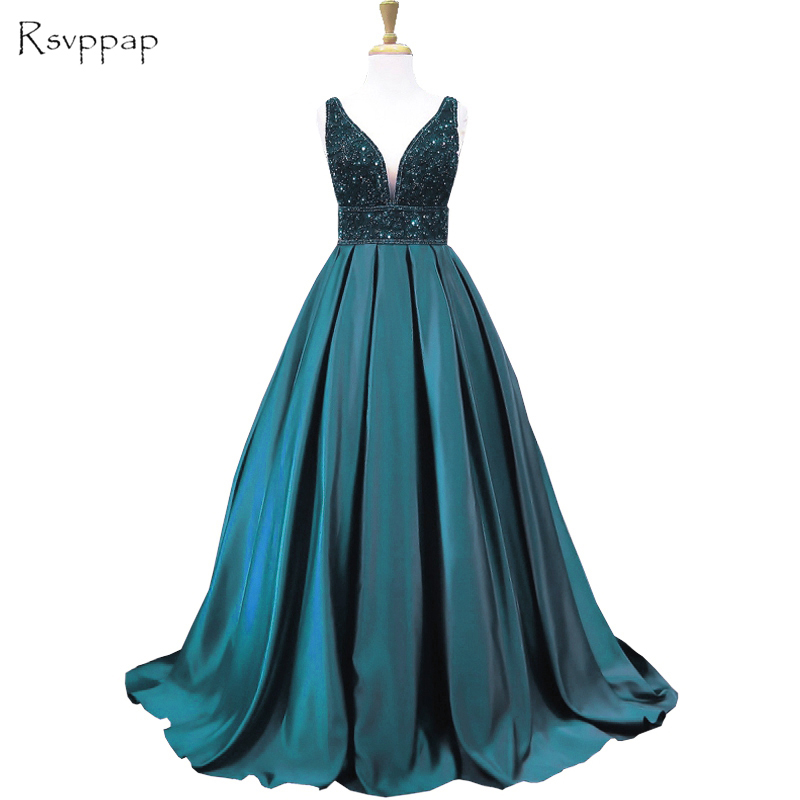 Long Emerald Green   Evening     Dress   2018 Ball Gown V-neck Sleeveless Beaded Backless Women Formal   Evening   Gowns robe de soiree