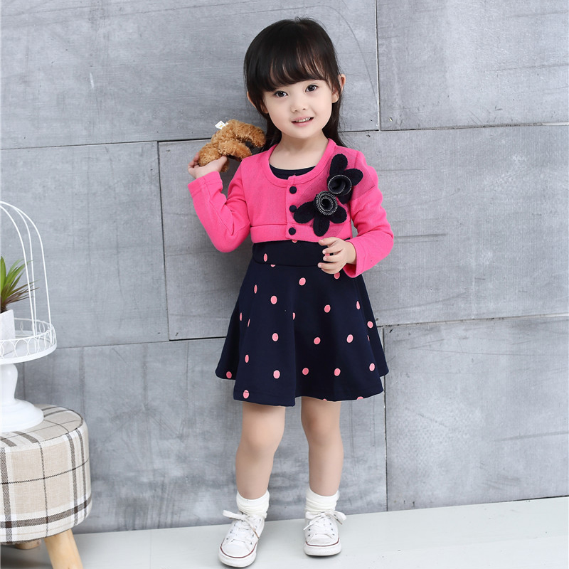 Autumn Winter Baby Girl Dresses 2018 New Style One-piece Casual Baby Girls Clothes Long Sleeve Flower Newborn Baby Dress